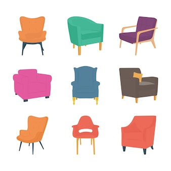 Pack d'icônes plat chaises