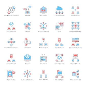 Pack d'icônes plat de communication