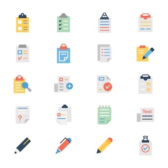 Pack d'icônes plat document presse-papiers
