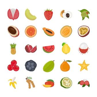 Pack d'icônes plat de fruits