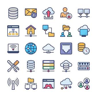 Pack d'icônes plat d'hébergement réseau