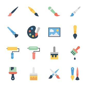 Pack d'icônes plat pinceau