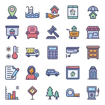 Pack d'icônes plat