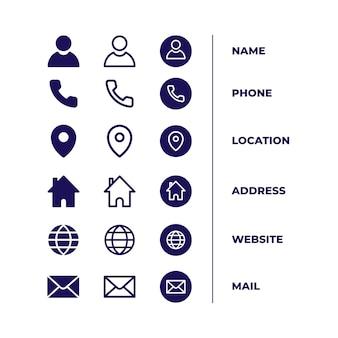Pack d'icônes pour carte de visite