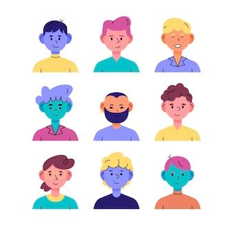 Pack d'icônes de profil dessinés à la main