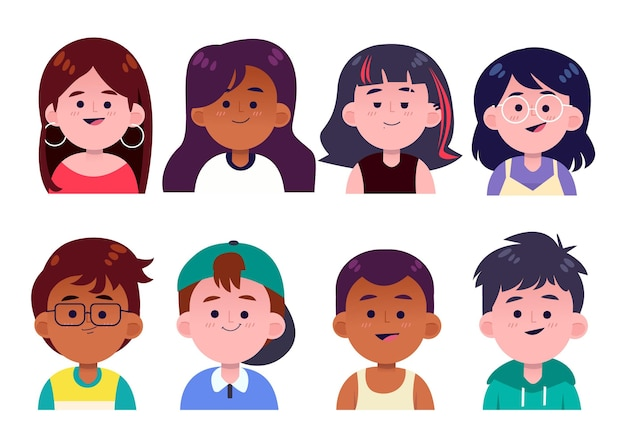 Pack d'icônes de profil plat dessinés à la main
