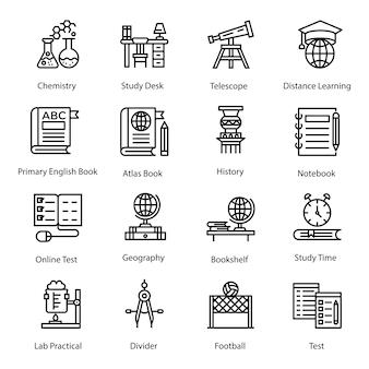 Pack d'icônes scolaires