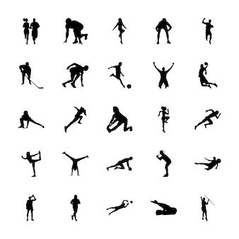 Pack d'icônes de silhouettes de sport