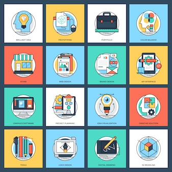 Pack d'icônes vectorielles plat design et développement