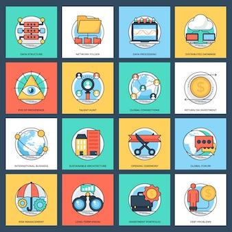 Pack d'icônes vectorielles plat de gestion d'entreprise et de données