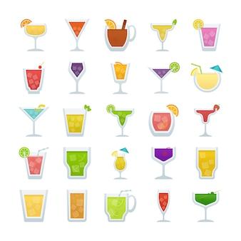 Pack d'icônes vectorielles plates de cocktails