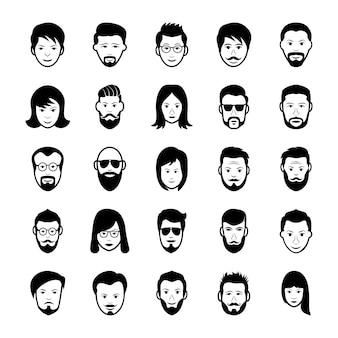 Pack d'icônes de visages humains