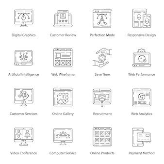 Pack d'icônes web line