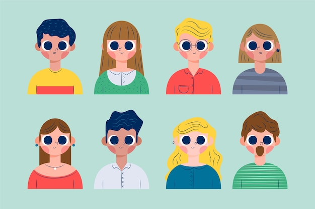 Pack d'illustration avatars personnes