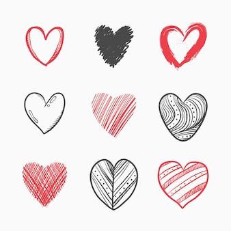 Pack d'illustration coeur dessiné à la main