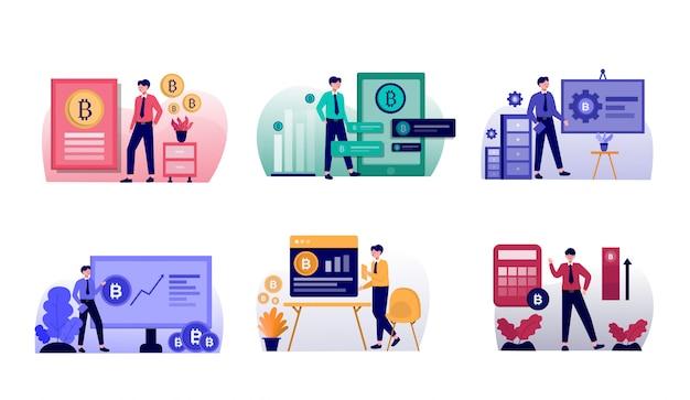 Pack d'illustration de conception bitcoin plat avec personnage