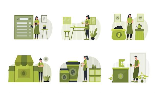 Pack d'illustration de conception de café plat avec caractère