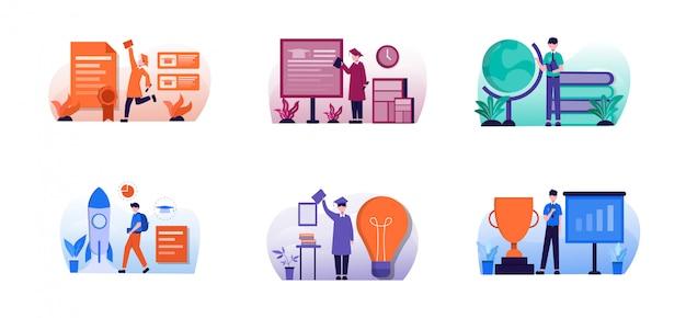Pack d'illustration de conception d'éducation plate avec caractère
