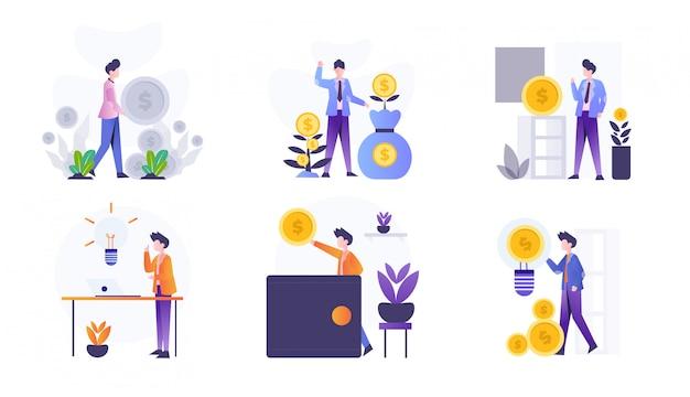 Pack d'illustration de conception d'investissement plat avec caractère