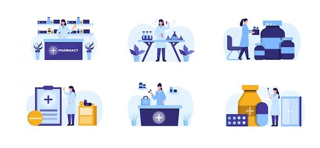 Pack d'illustration de conception de pharmacie plate avec caractère