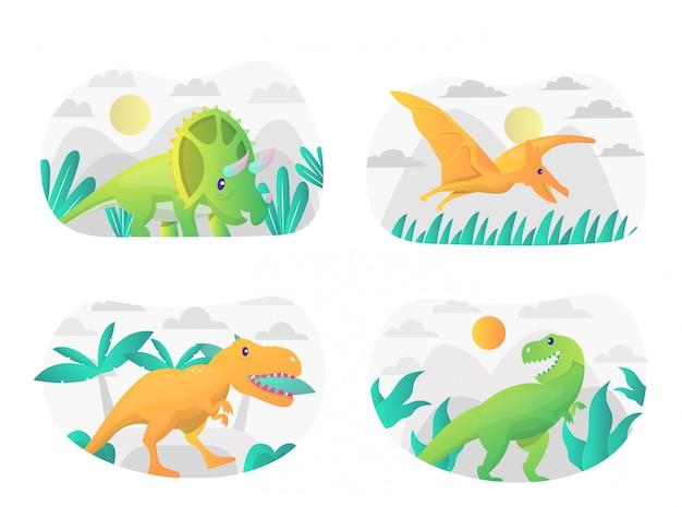 Pack D'illustration De Dinosaures Plats Avec Personnage Vecteur Premium