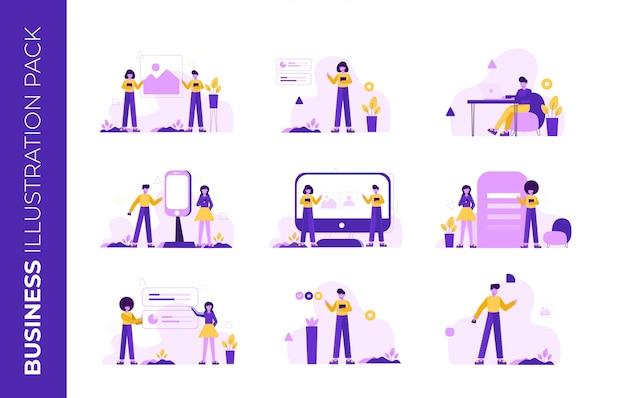 Pack d'illustration d'entreprise pour la page de destination