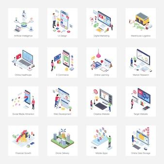 Pack d'illustration isométrique de buiness