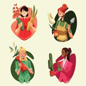 Pack d'illustration de jardinage pour la relaxation des femmes