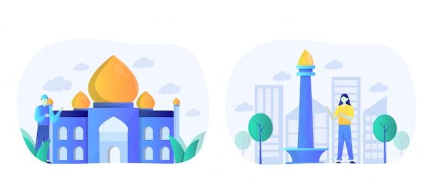 Pack d'illustration de monuments plats avec caractère