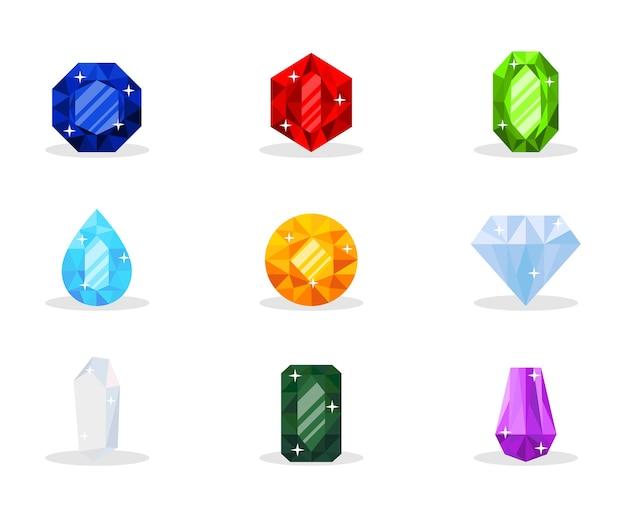 Pack d'illustration de pierres précieuses, pierres précieuses de luxe, bijoux glamour, trésor brillant, ensemble de pierres minérales décoratives, richesse, cadeau coûteux, saphir, rubis, émeraude, topaze et diamant