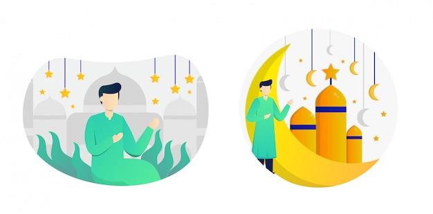 Pack d'illustration plat eid mubarak avec personnage