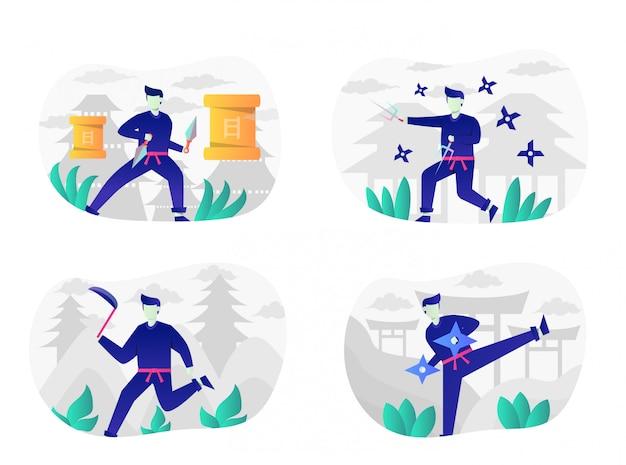 Pack d'illustration plat ninja avec personnage