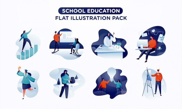 Pack d'illustration plat scène d'éducation