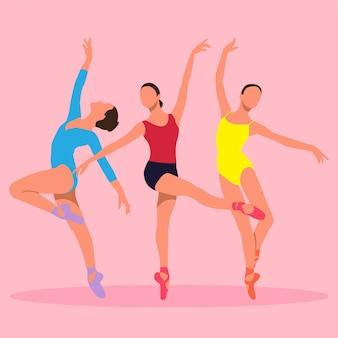Pack d'illustration vectorielle ballerine colorée