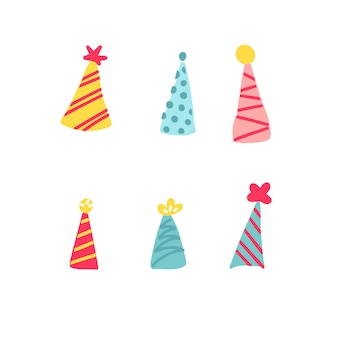 Pack d'illustration vectorielle de divers chapeaux de fête avec trois textures différentes et quatre variations de couleurs différentes