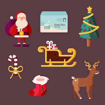 Pack d'illustrations d'éléments de noël design plat