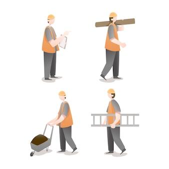 Pack d'illustrations de personnage de travailleur