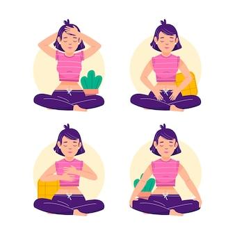Pack d'illustrations de poses de reiki d'auto-guérison