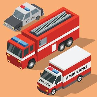 Un pack d'illustrations de véhicules de service public