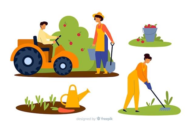 Pack illustré d'agriculteurs travaillant