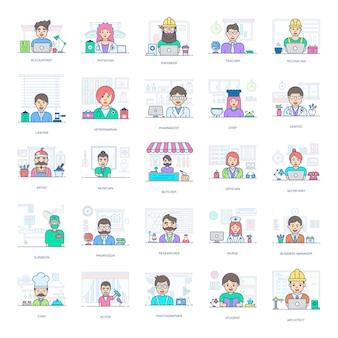 Un pack incroyable de professionnels, ce pack d'icônes plat vous facilite par son style éditable.