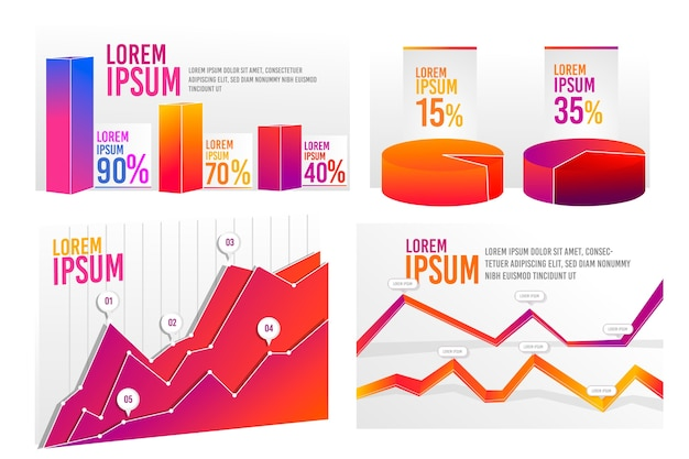Pack d'infographie dégradé coloré