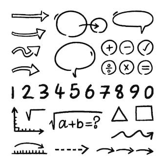 Pack d'infographie scolaire dessiné à la main