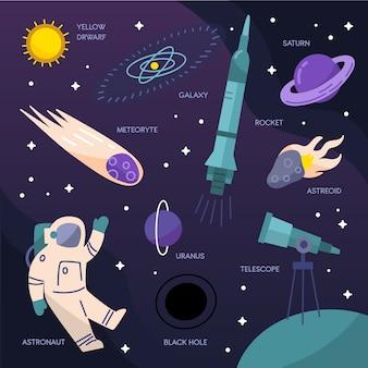 Pack d'infographie de l'univers du design plat