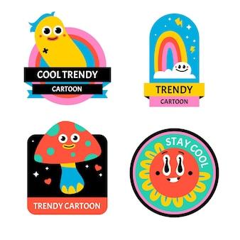 Pack d'insigne de dessin animé à la mode dessiné à la main