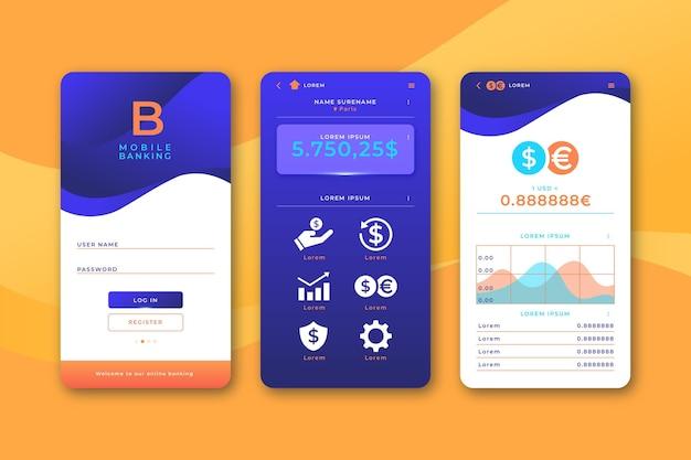 Pack d'interface d'application bancaire
