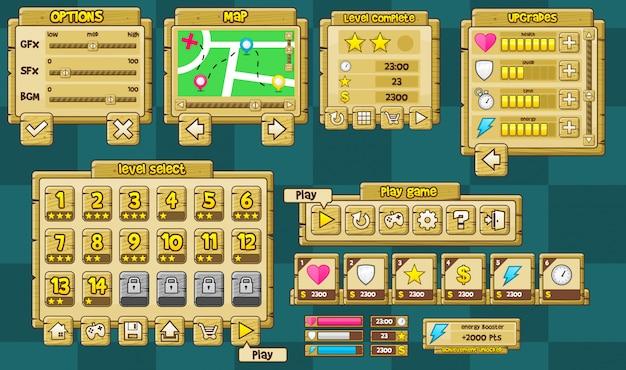 Pack d'interface graphique de jeu en bois