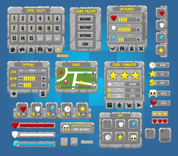 Pack d'interface graphique de jeu de pierre