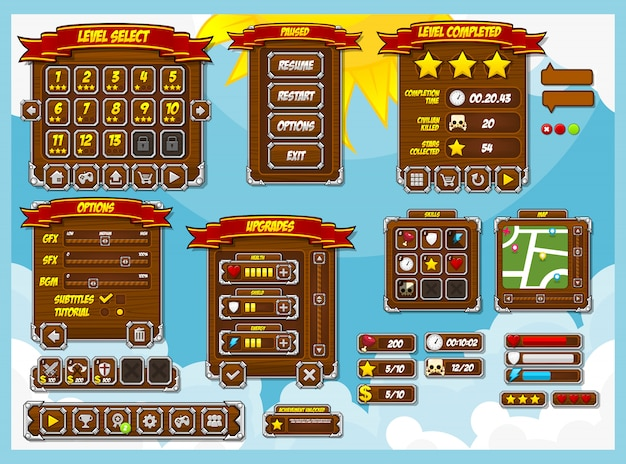 Pack d'interface graphique de jeu rpg