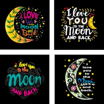 Pack d'invitations d'amour avec lune